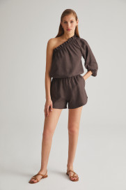 Chocolate Linen Shorts by Labeca London on curated-crowd.com