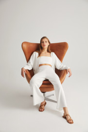 Ecru Wide Leg Pants by Labeca London on curated-crowd.com