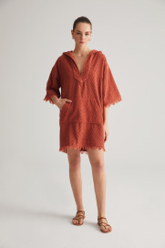 Terracotta Zig Zag Terry Hooded Dress by Labeca London on curated-crowd.com