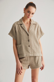 Stone Grey Zig Zag Terry Shirt by Labeca London on curated-crowd.com