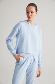 Baby Blue Cotton Hoodie by Labeca London on curated-crowd.com