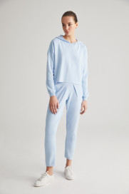 Baby Blue Cotton Joggers by Labeca London on curated-crowd.com