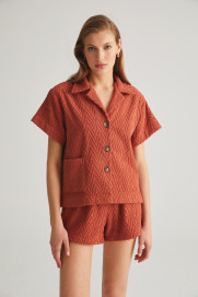 Terracotta Zig Zag Terry Shirt by Labeca London on curated-crowd.com