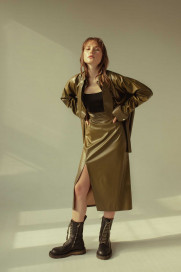 Khaki Skirt With Slit by Z.G.EST on curated-crowd.com