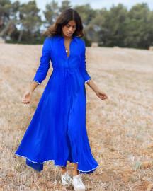 Amalfi Dress Long Klein Blue by Oramai London on curated-crowd.com