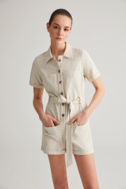 Linen Safari Romper by Labeca London on curated-crowd.com