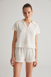 Ecru Textured Polo T-Shirt by Labeca London on curated-crowd.com