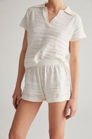 Ecru Textured Shorts by Labeca London on curated-crowd.com