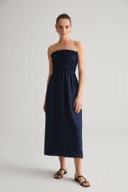 Navy Linen Dress by Labeca London on curated-crowd.com