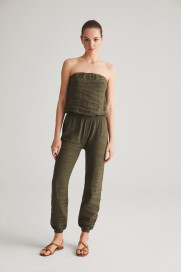 Khaki Textured Jumpsuit by Labeca London on curated-crowd.com