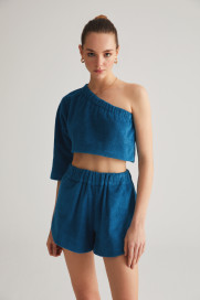 Sea Blue Terry One Sleeve Top by Labeca London on curated-crowd.com