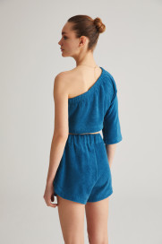 Sea Blue Terry Shorts by Labeca London on curated-crowd.com