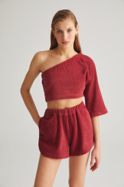 Berry Terry One Sleeve Top by Labeca London on curated-crowd.com