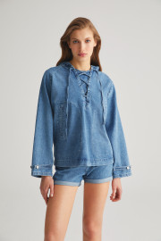 Denim Hoodie by Labeca London on curated-crowd.com