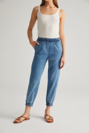 Denim Joggers by Labeca London on curated-crowd.com