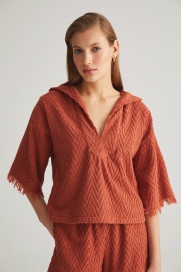 Terracotta Zig Zag Terry Hoodie by Labeca London on curated-crowd.com