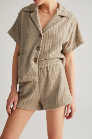 Stone Grey Zig Zag Terry Shorts by Labeca London on curated-crowd.com