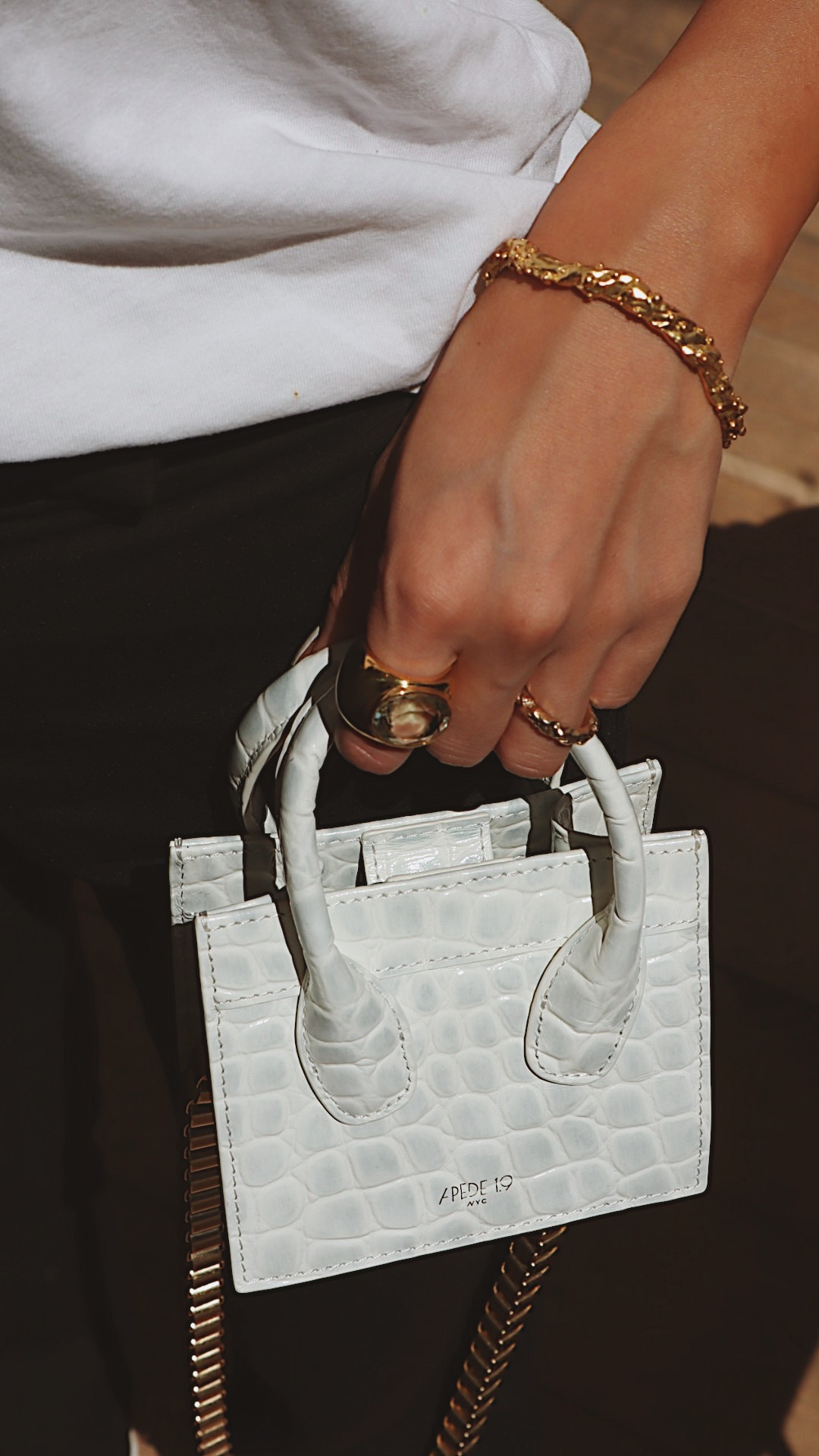 White Croc Poker Face Mini Tote by APEDE MOD on curated-crowd.com