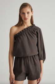 Chocolate One Sleeve Linen Top by Labeca London on curated-crowd.com