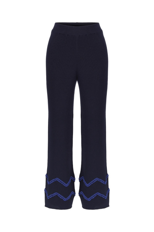 Navy Zig Zag Pants by Labeca London on curated-crowd.com