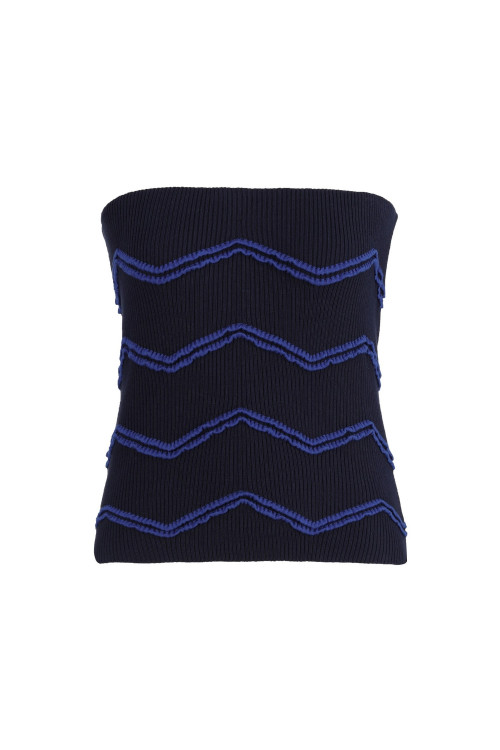 Navy Zig Zag Strapless Top by Labeca London on curated-crowd.com