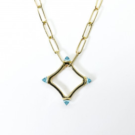 Colour Large Logo Chain Necklace set in Sky Blue Topaz, 18k gold by MAVIADA on curated-crowd.com