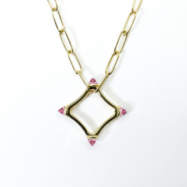 Colour Large Logo Chain Necklace set in Pink Tourmaline, 18k Gold by MAVIADA on curated-crowd.com