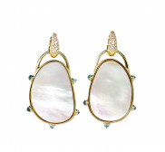 Small Mother of Pearl Diamond Drops with Reverse Diamond Cut Blue Topaz by MAVIADA on curated-crowd.com