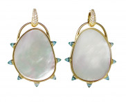 Large Mother of Pearl Diamond Drops with Reverse Diamond Cut Blue Topaz by MAVIADA on curated-crowd.com