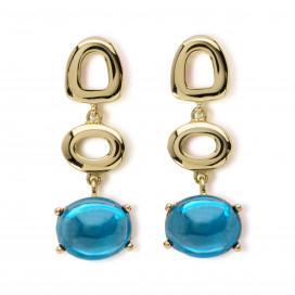St Tropez Earrings, 18k Yellow Gold, London Blue Topaz by MAVIADA on curated-crowd.com