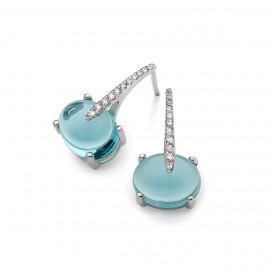 Sardinia Short Diamond Earrings, 18k White Gold, Sky Blue Topaz by MAVIADA on curated-crowd.com
