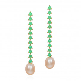 Baroque Pink Pearl Earrings, Chrysoprase by MAVIADA on curated-crowd.com