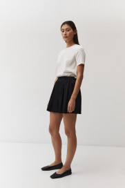 Pleated Shorts in Black Hammered Silk by The Array on curated-crowd.com