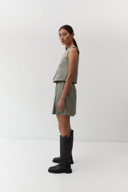 Pleated Shorts in Sage Tencel by The Array on curated-crowd.com