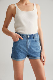 Denim Braided Shorts by Labeca London on curated-crowd.com