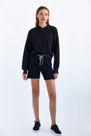 Black Knit Shorts by Labeca London on curated-crowd.com