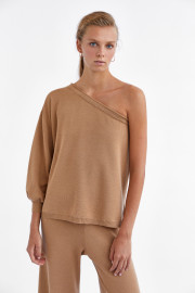 Camel One Sleeve Sweater by Labeca London on curated-crowd.com