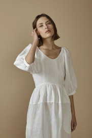 Puff-Sleeved Open Back Dress by AG Studio on curated-crowd.com