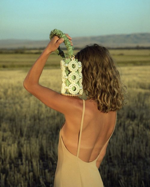Green Daisy Bucket Bag by 0711 Tbilisi on curated-crowd.com