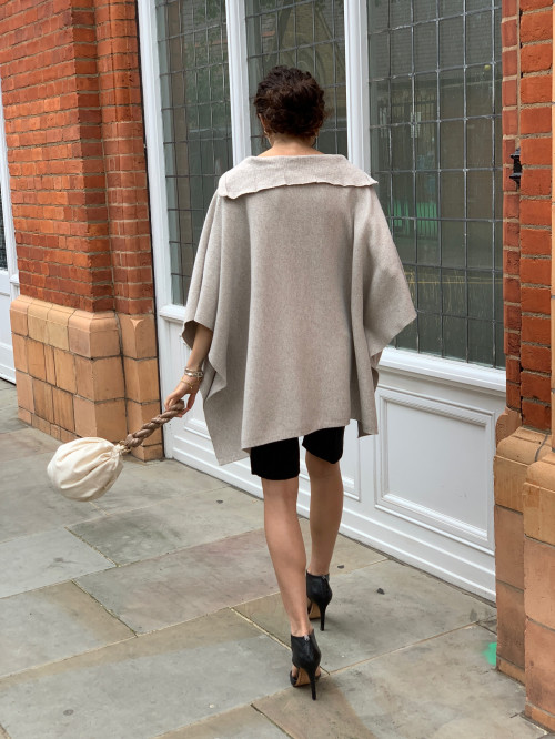 Cashmere Blend Oatmeal Cape by Labeca London on curated-crowd.com