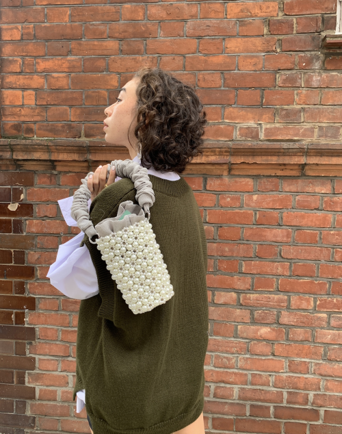 Grey Pearl Bucket Bag by 0711 Tbilisi on curated-crowd.com