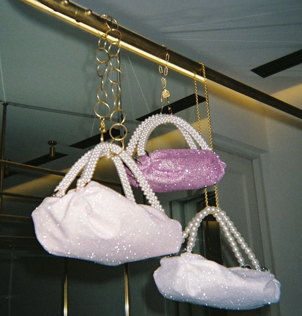 Sparkly Baby Pink Tiny Nino Tote by 0711 Tbilisi on curated-crowd.com