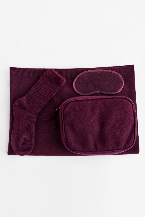 Bordeaux Cashmere Travel Set by Labeca London on curated-crowd.com