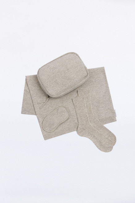 Oatmeal Cashmere Blend Travel Set by Labeca London on curated-crowd.com