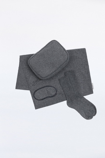 Dark Grey Cashmere Blend Travel Set by Labeca London on curated-crowd.com