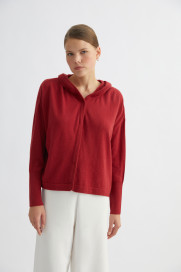 Cherry Hidden-Button Cashmere Hoodie by Labeca London on curated-crowd.com