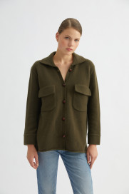 Khaki Cashmere Jacket by Labeca London on curated-crowd.com