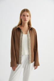 Light Brown Cashmere-Blend Army Jacket by Labeca London on curated-crowd.com