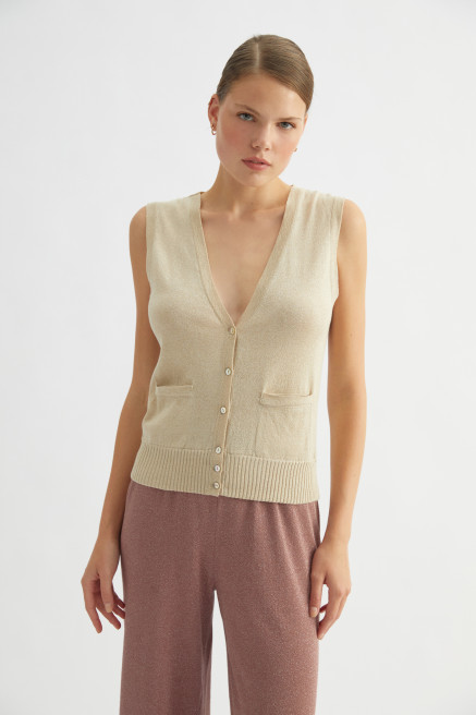 Beige Knitted Vest by Labeca London on curated-crowd.com