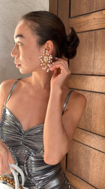 Dahlia White Earrings by Jessica K on curated-crowd.com